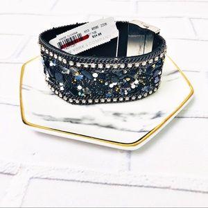 New York & Company Beaded Felt Cuff Bracelet